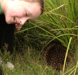 Me and an echidna in the wild